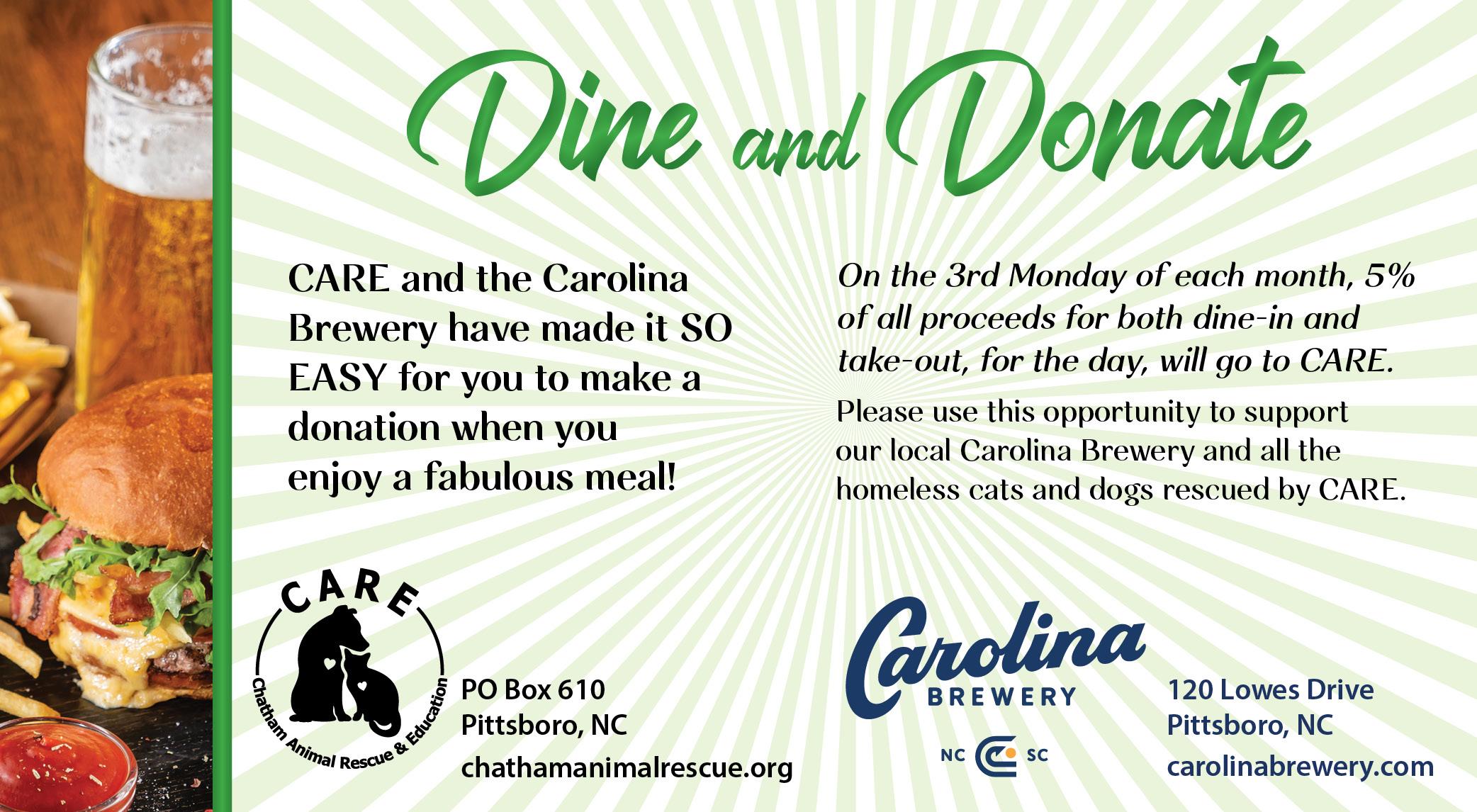 Dine & Donate at Carolina Brewery @ Carolina Brewery